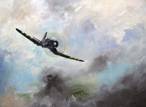 Watercolour painting of the Chance Vought F4U Corsair aircraft
