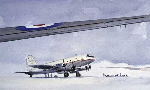 Watercolour painting of the Handley Page Hastings aircraft