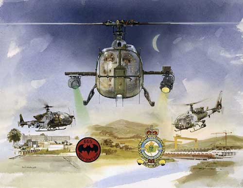 Watercolour painting of the Aerospatiale Gazelle helicopter - Night Hawk - used by the Army Air Corps