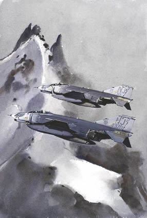 Watercolour painting of McDonnell Douglas F-4 Phantoms