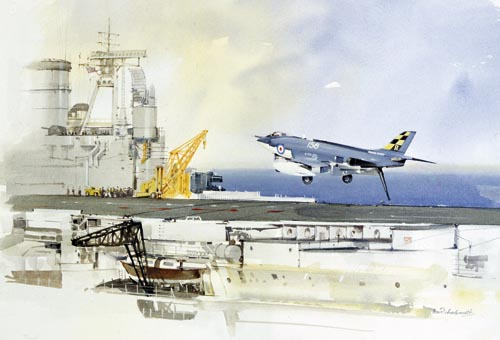 Watercolour painting of the Supermarine Scimitar, a British naval fighter aircraft.