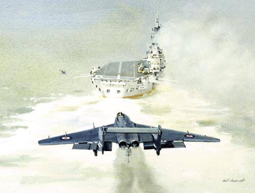 Watercolour painting of the de Havilland Sea Vixen jet fighter.